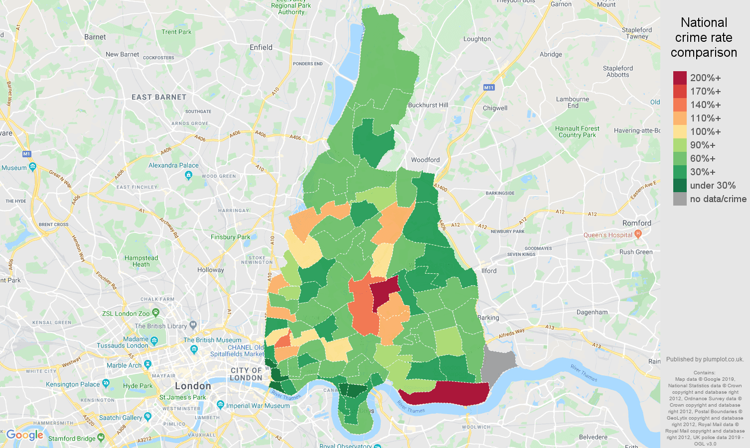 East London other crime rate comparison map