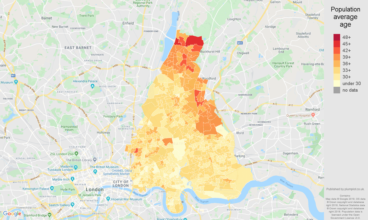 East London population average age map
