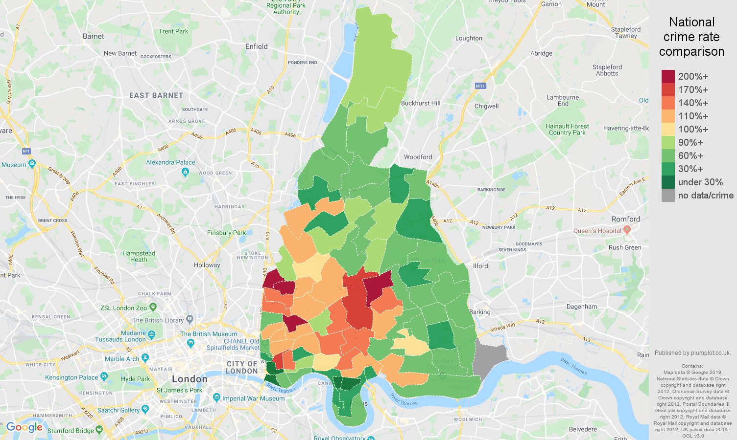 East London public order crime rate comparison map