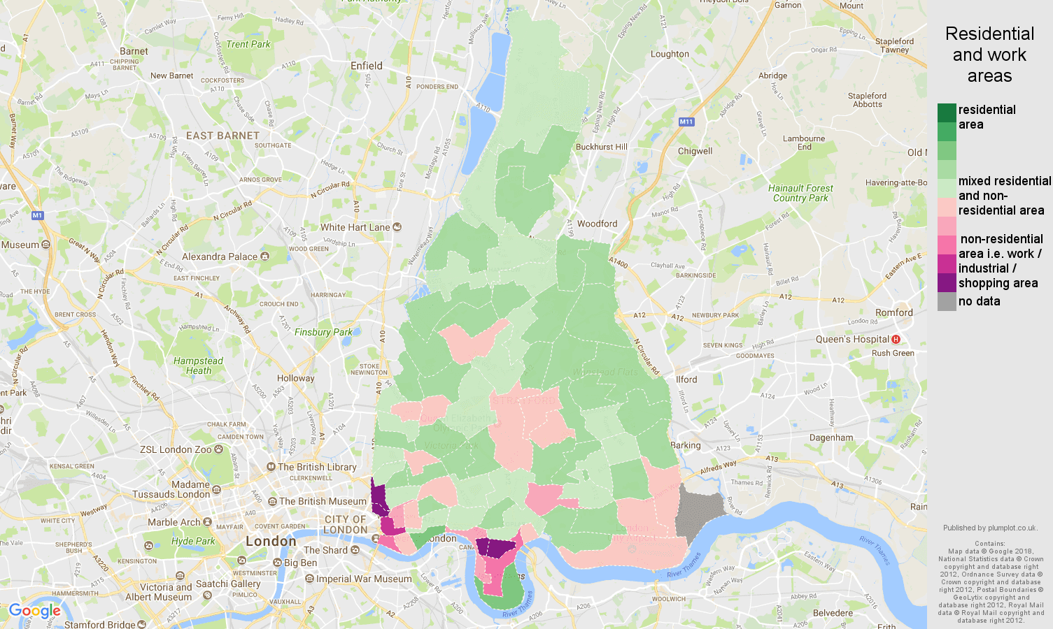 East London residential areas map