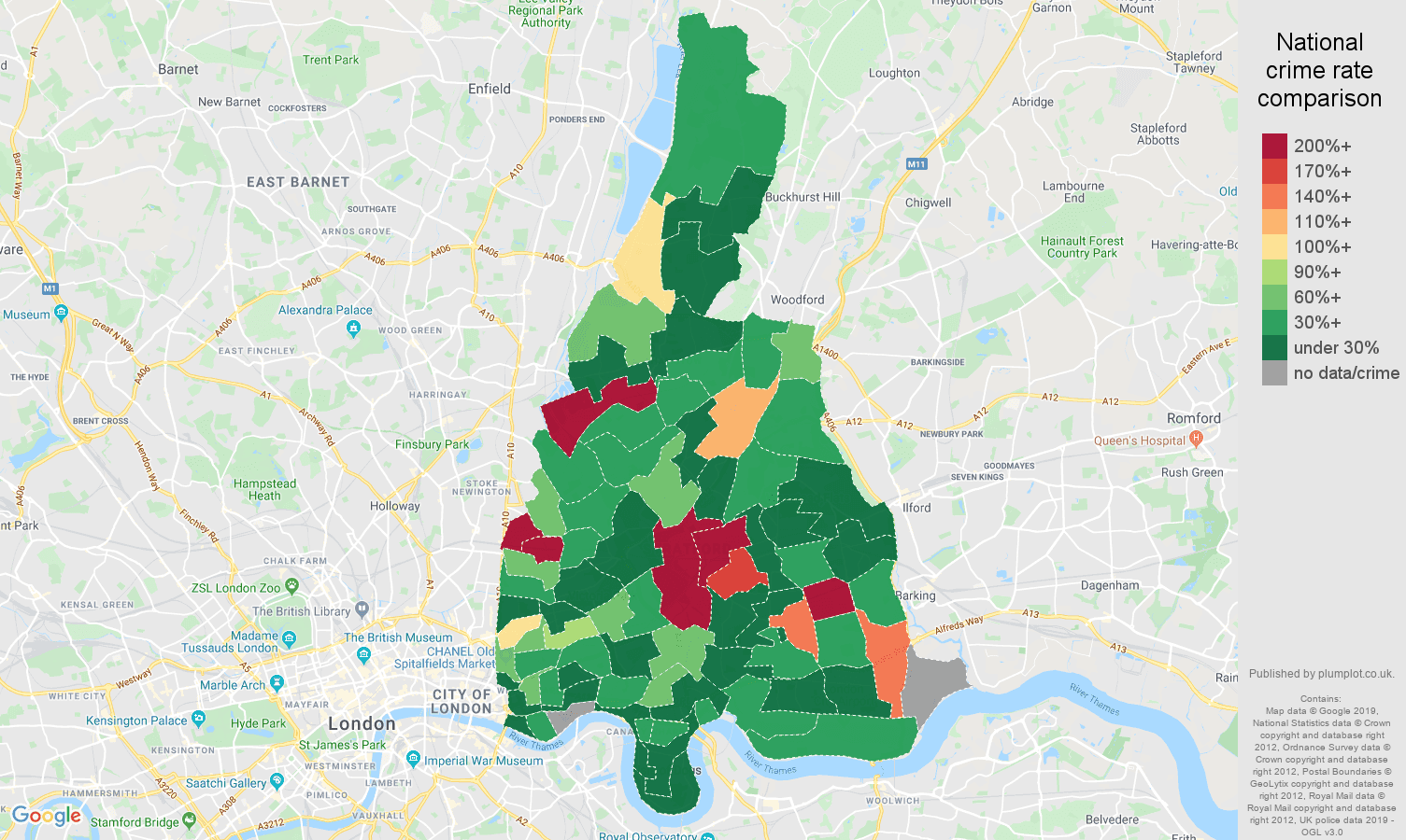 East London shoplifting crime rate comparison map