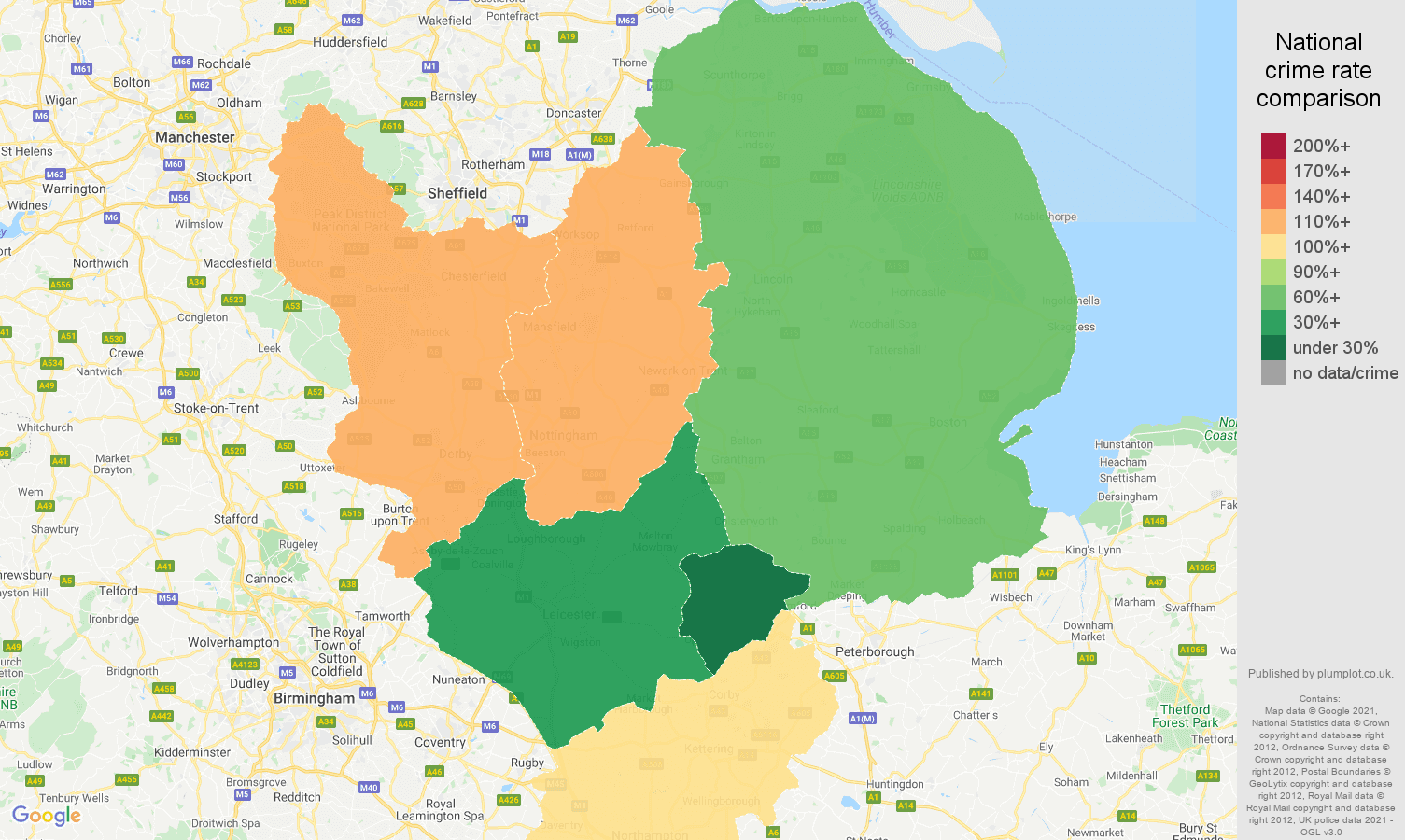 East Midlands antisocial behaviour crime rate comparison map