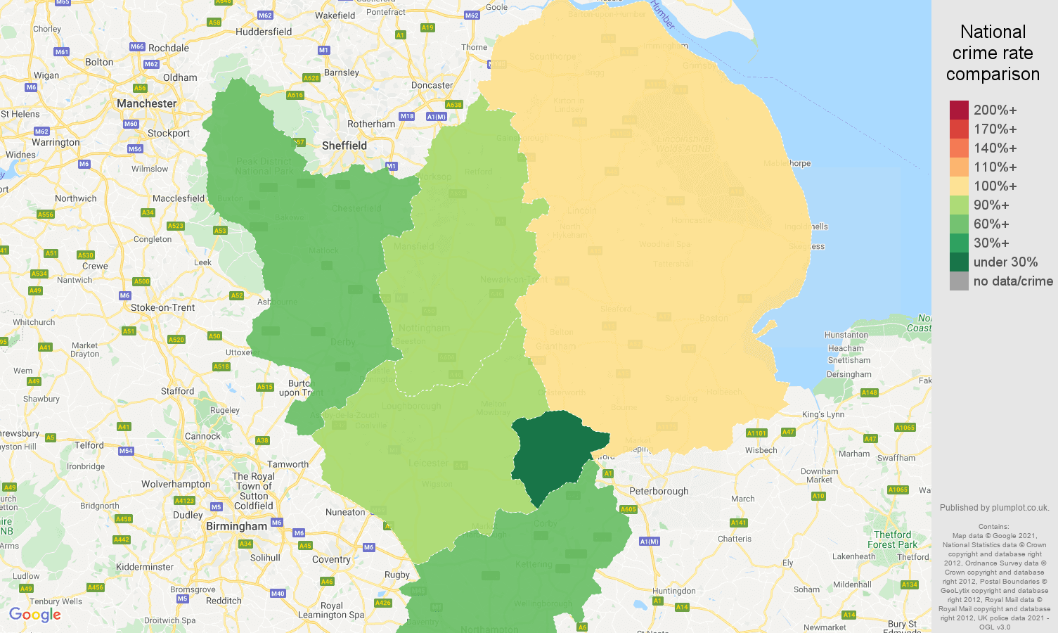East Midlands bicycle theft crime rate comparison map