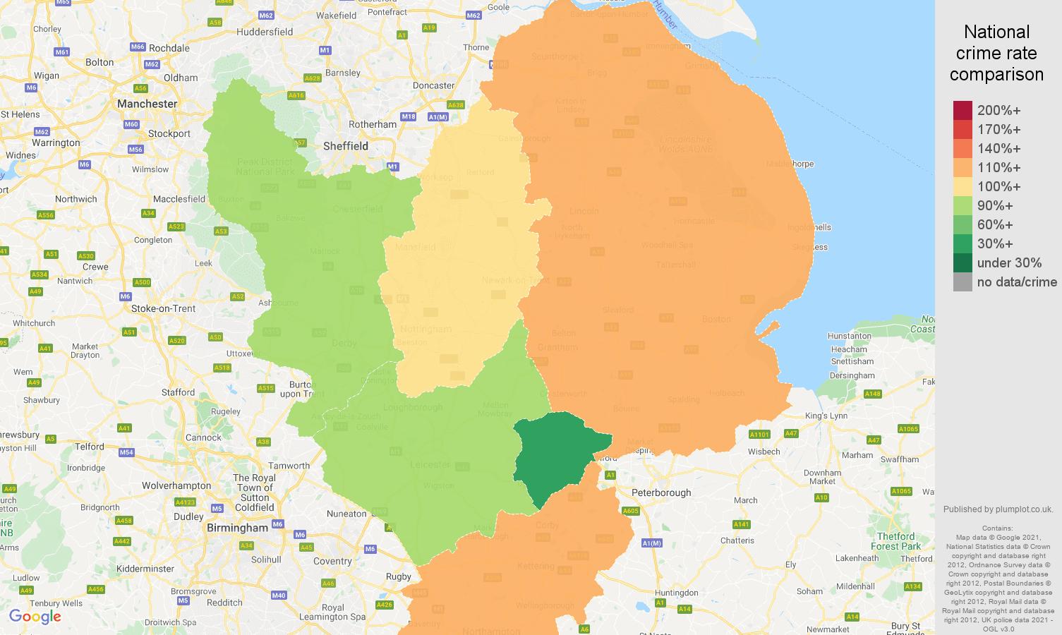 East Midlands burglary crime rate comparison map