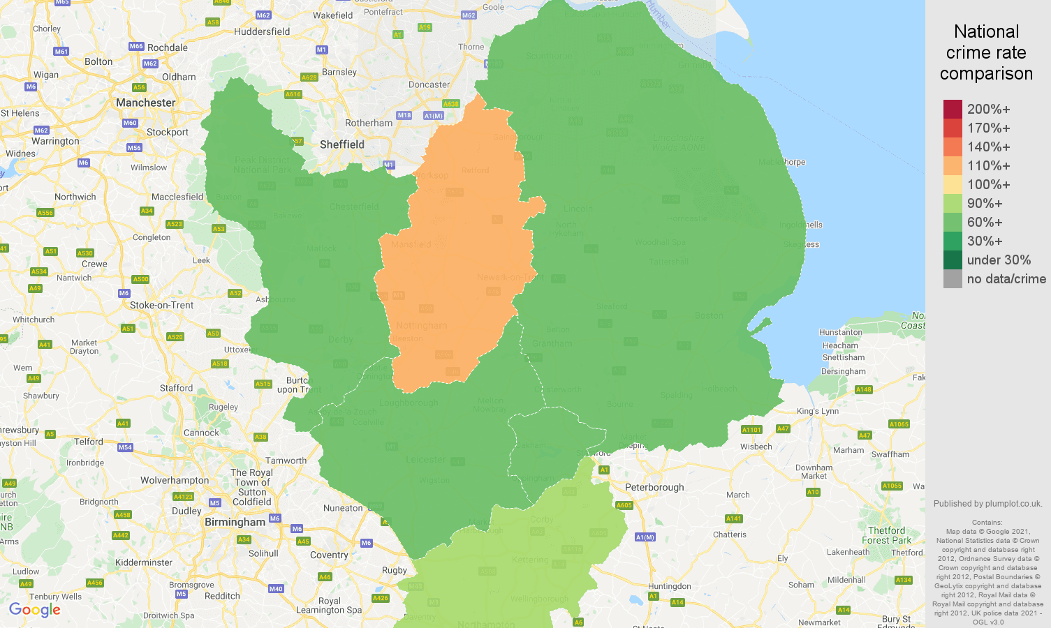 East Midlands drugs crime rate comparison map