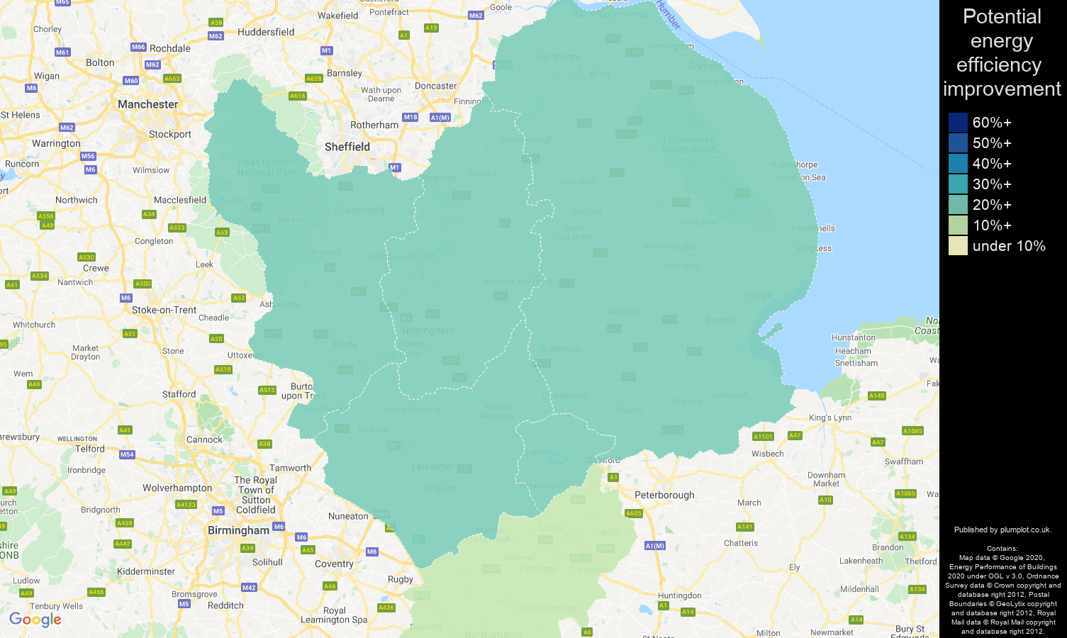 East Midlands map of potential energy efficiency improvement of properties
