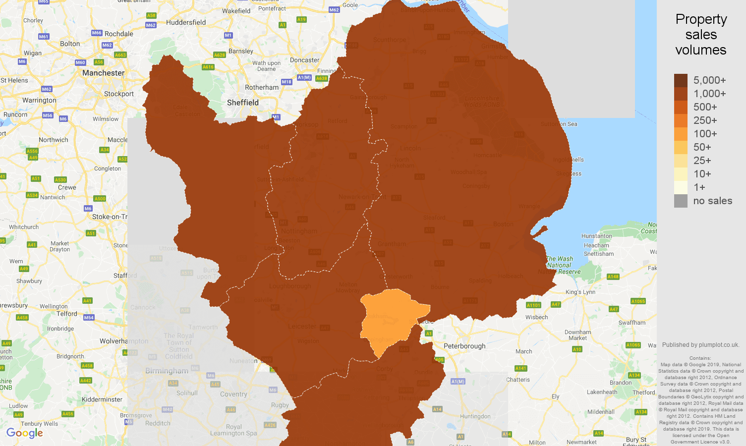 East Midlands map of sales of new properties