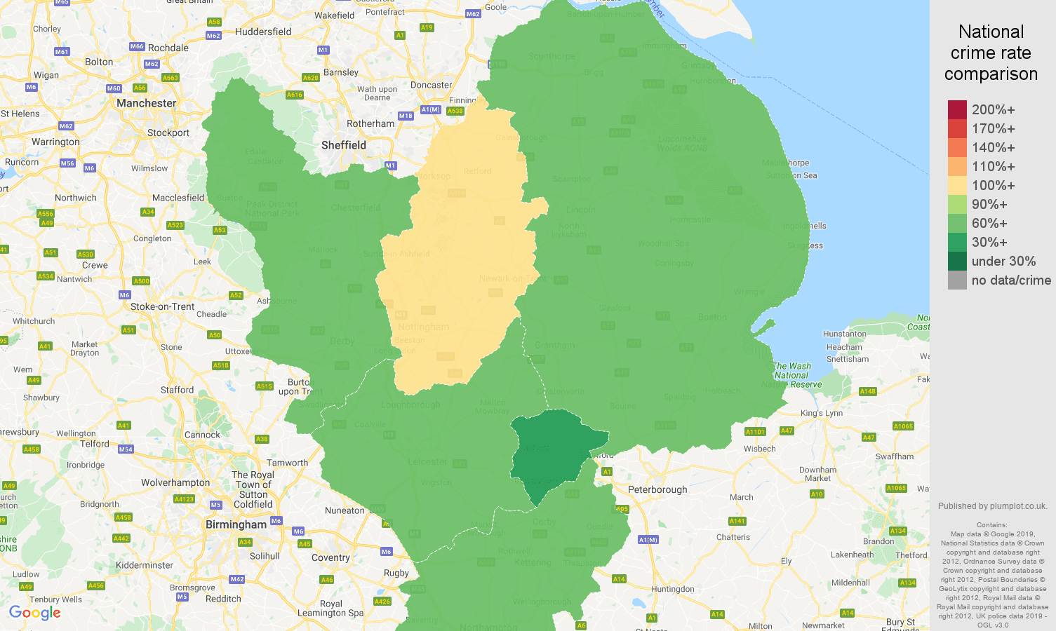 East Midlands other theft crime rate comparison map