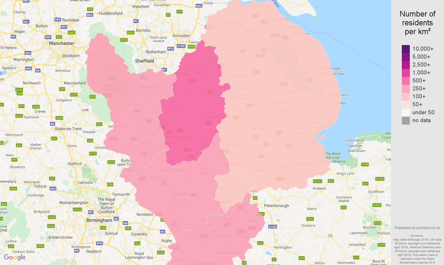 East Midlands population density map
