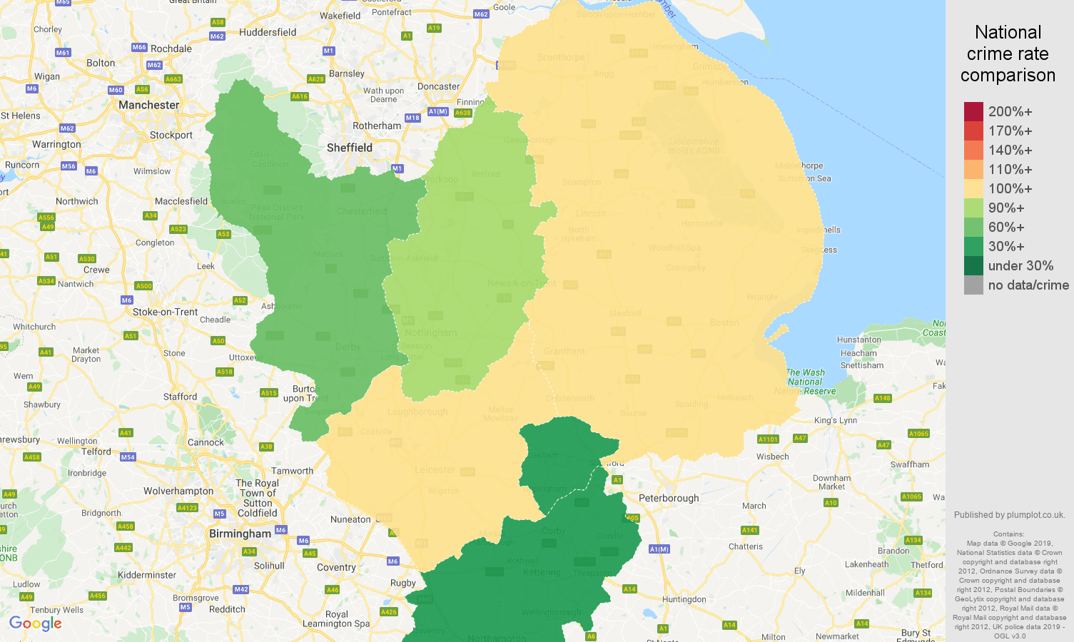 East Midlands public order crime rate comparison map