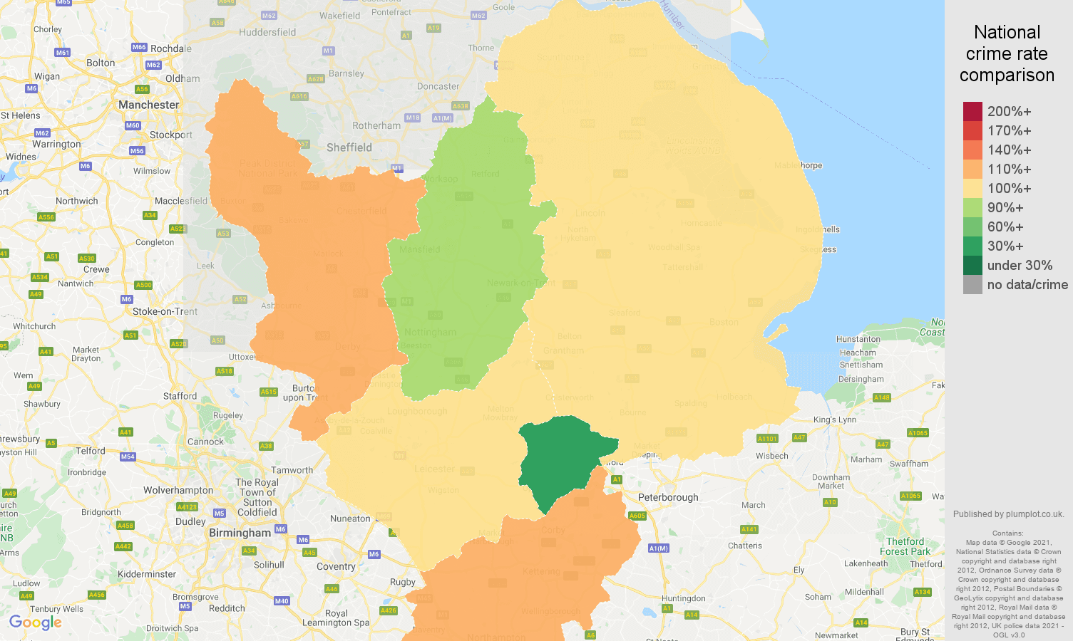 East Midlands violent crime rate comparison map