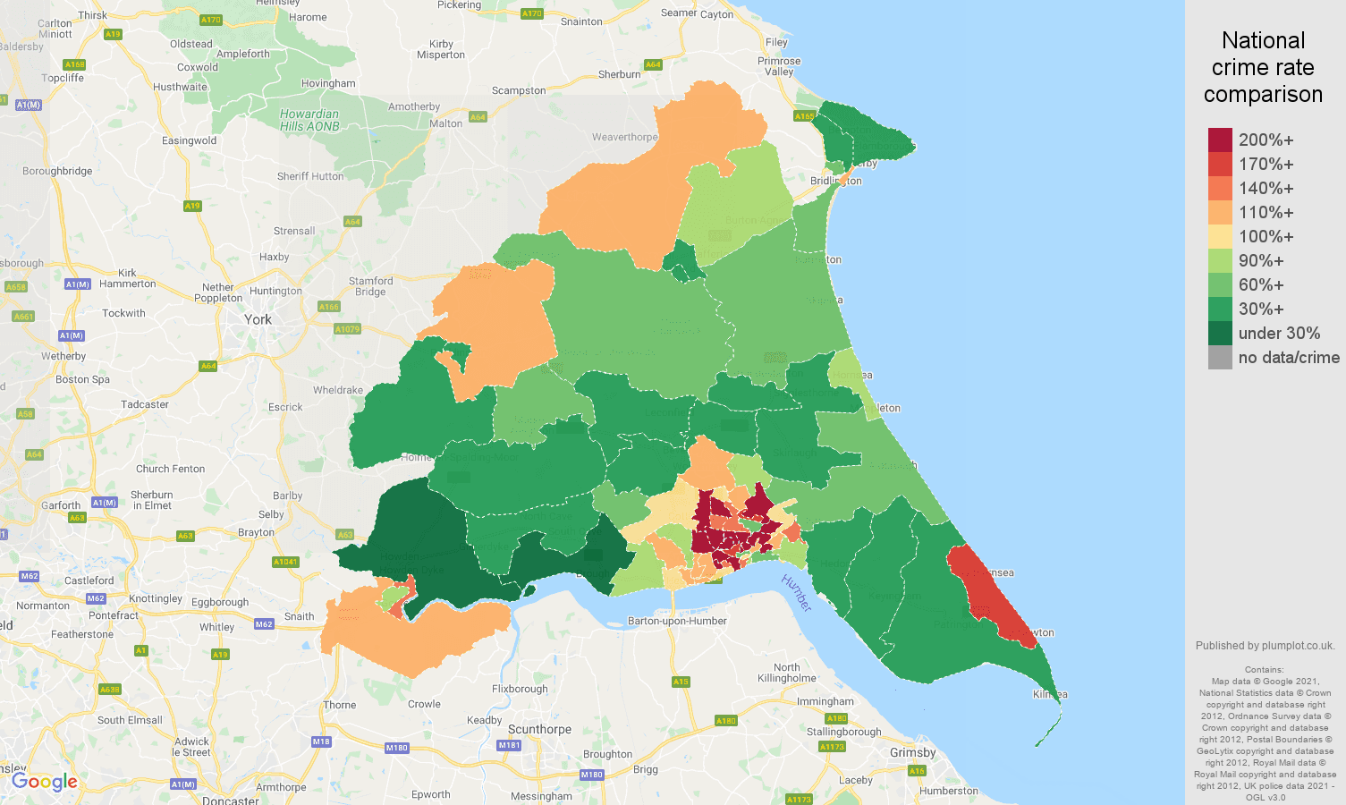 East Riding of Yorkshire burglary crime rate comparison map