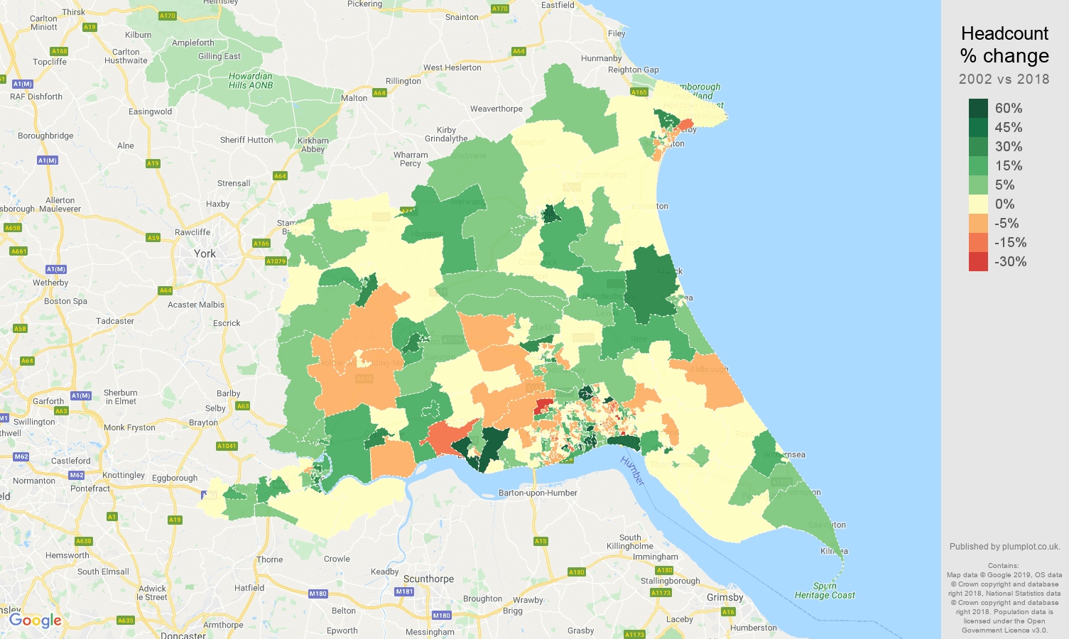 East Riding of Yorkshire headcount change map