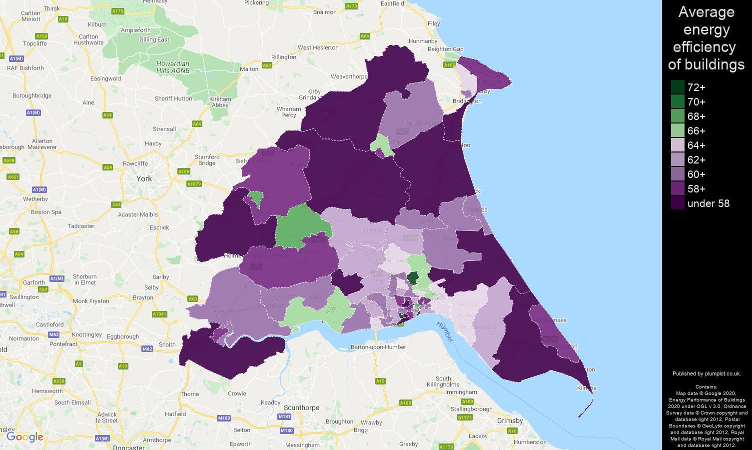 East Riding of Yorkshire map of energy efficiency of houses