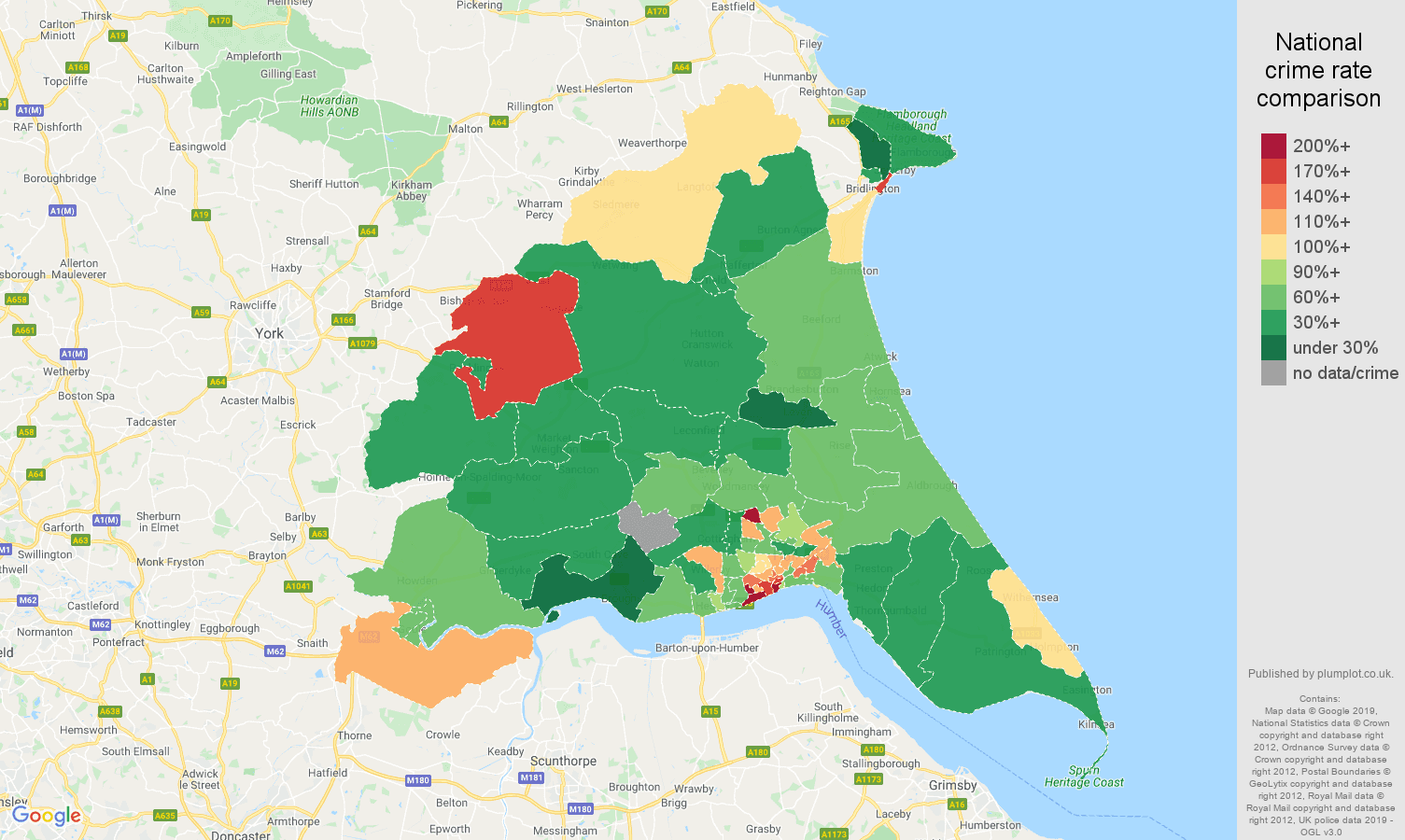 East Riding of Yorkshire other theft crime rate comparison map