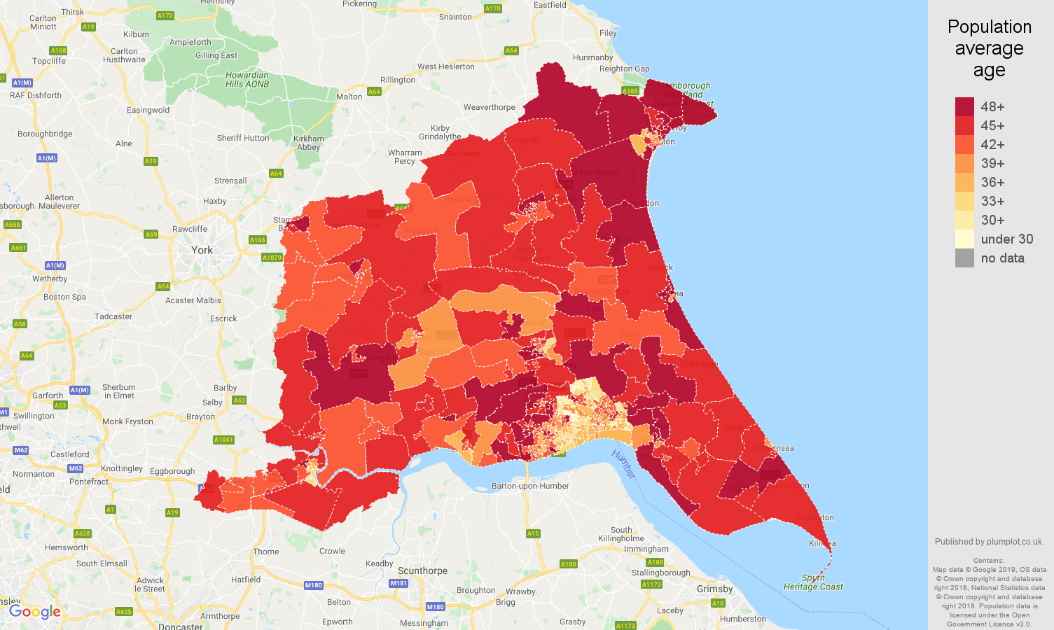 East Riding of Yorkshire population average age map