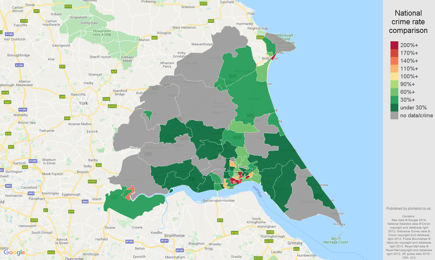 East Riding of Yorkshire possession of weapons crime rate comparison map