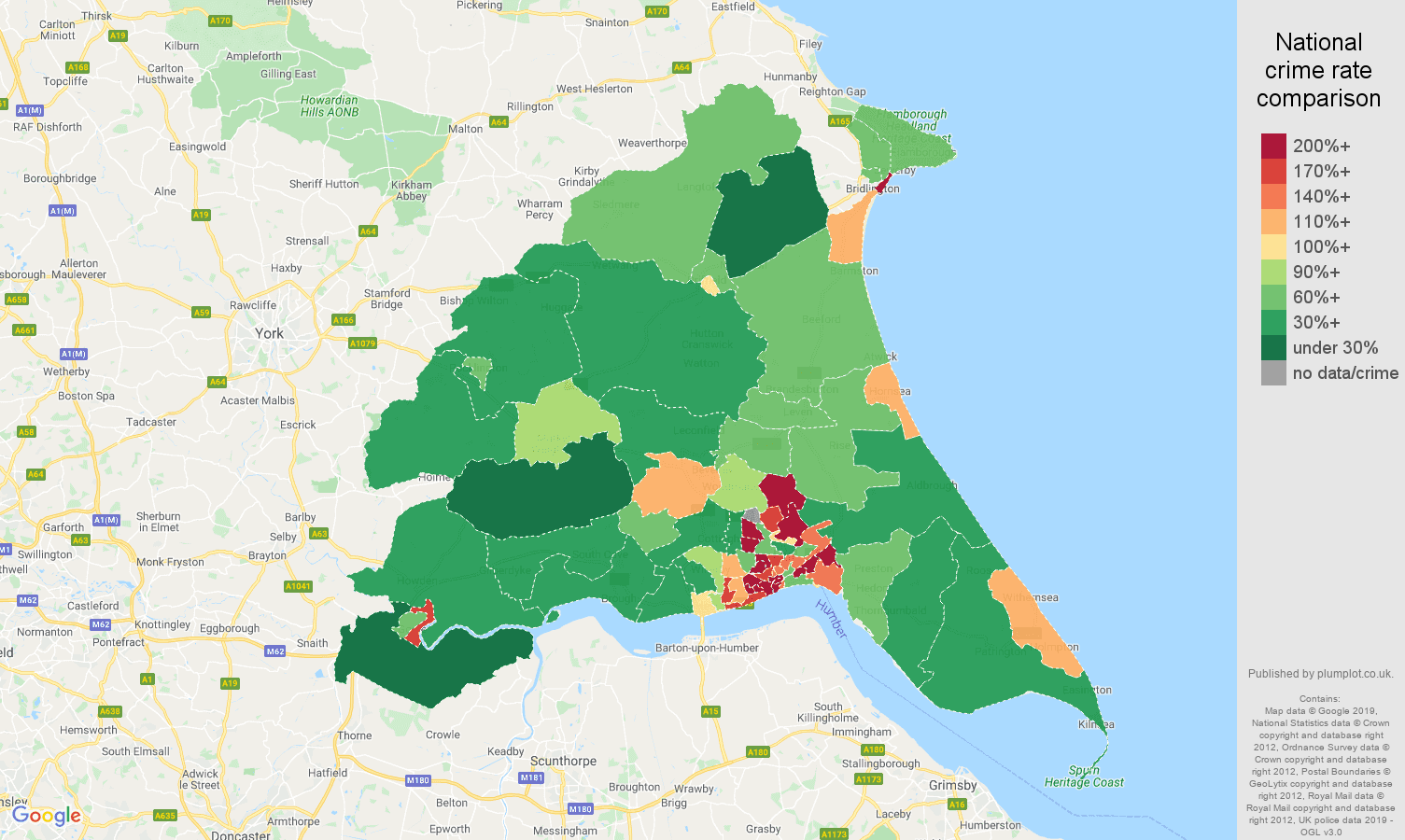 East Riding of Yorkshire public order crime rate comparison map