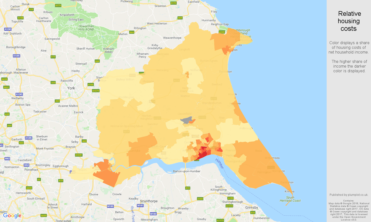 East Riding of Yorkshire relative housing costs map