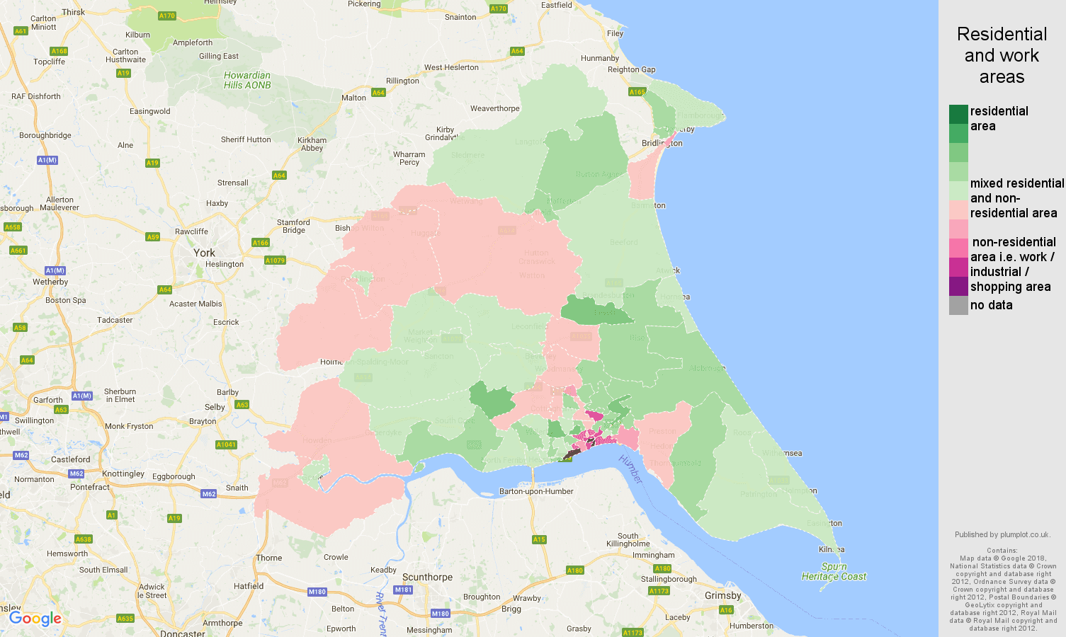East Riding of Yorkshire residential areas map