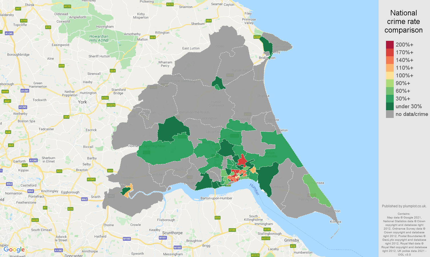 East Riding of Yorkshire robbery crime rate comparison map