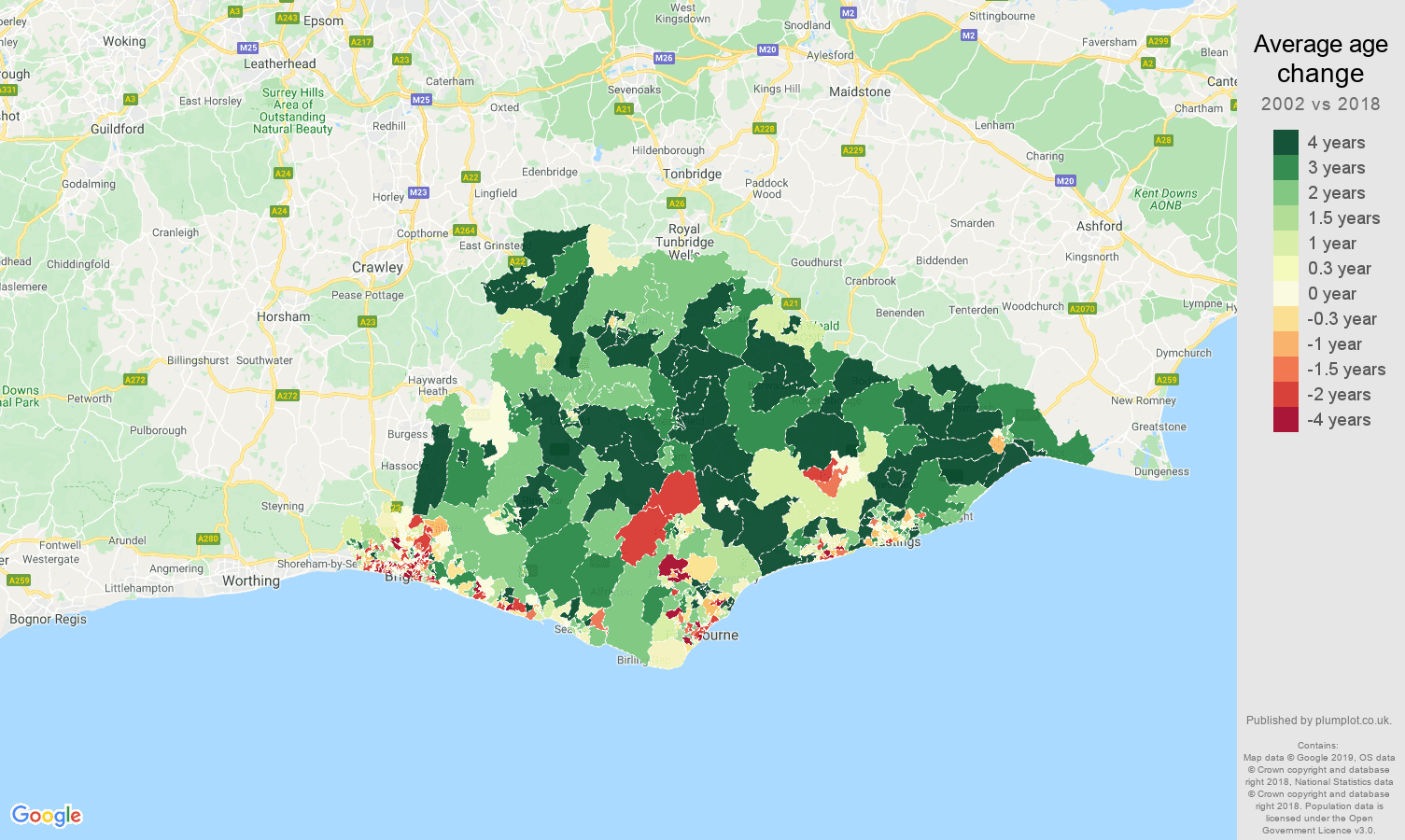 East Sussex average age change map