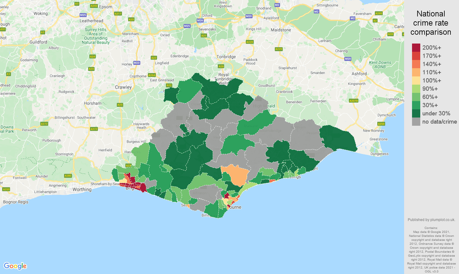East Sussex bicycle theft crime rate comparison map