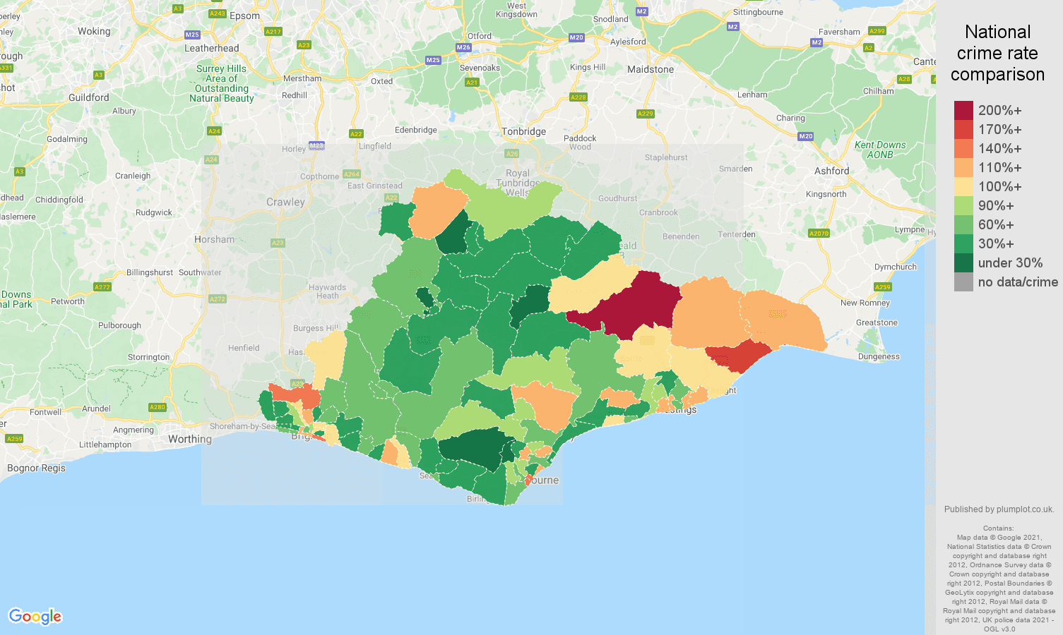 East Sussex burglary crime rate comparison map