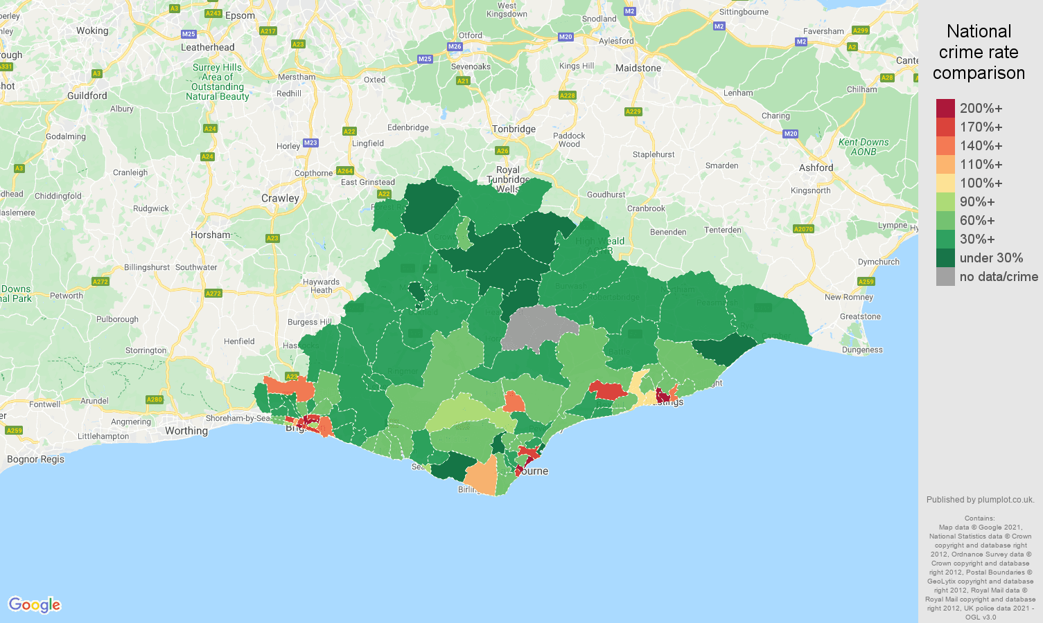 East Sussex drugs crime rate comparison map