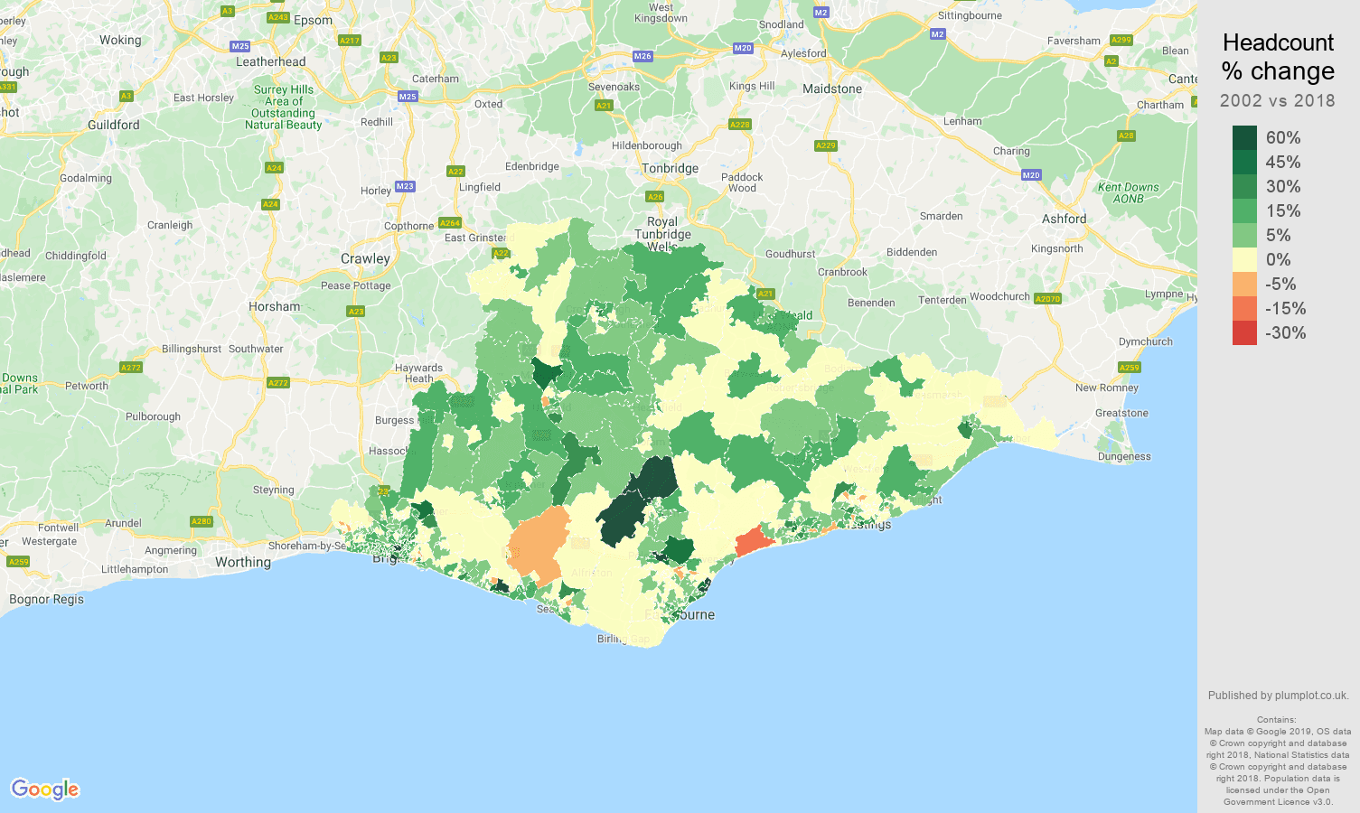 East Sussex headcount change map