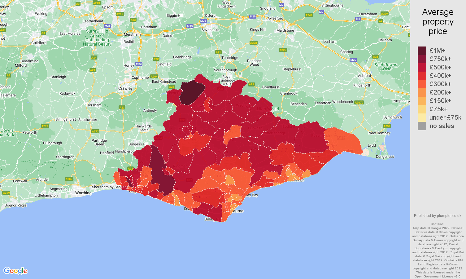 East Sussex house prices map