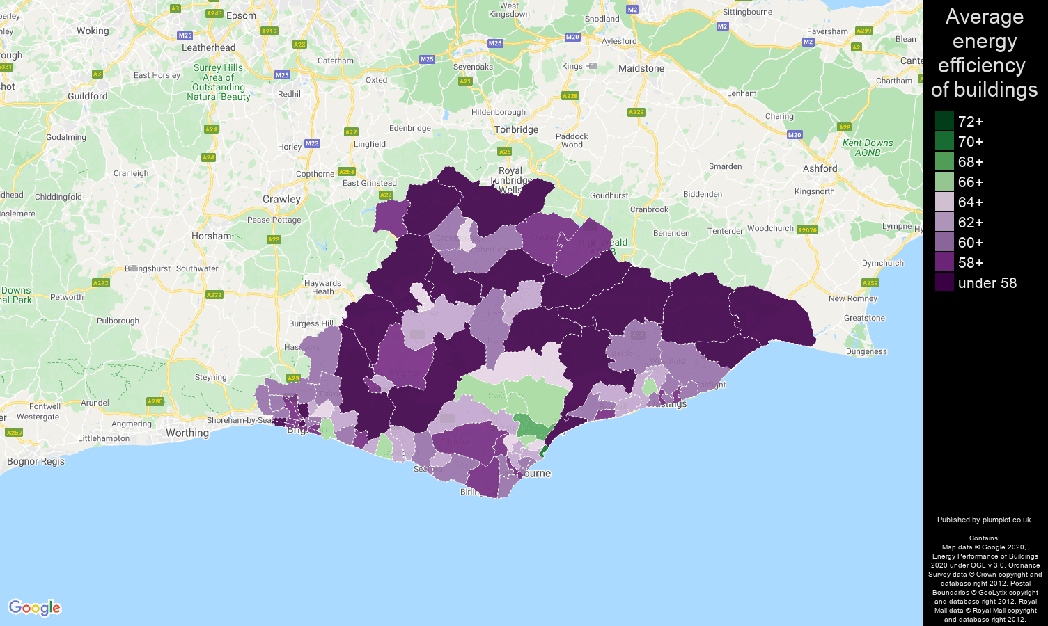 East Sussex map of energy efficiency of houses