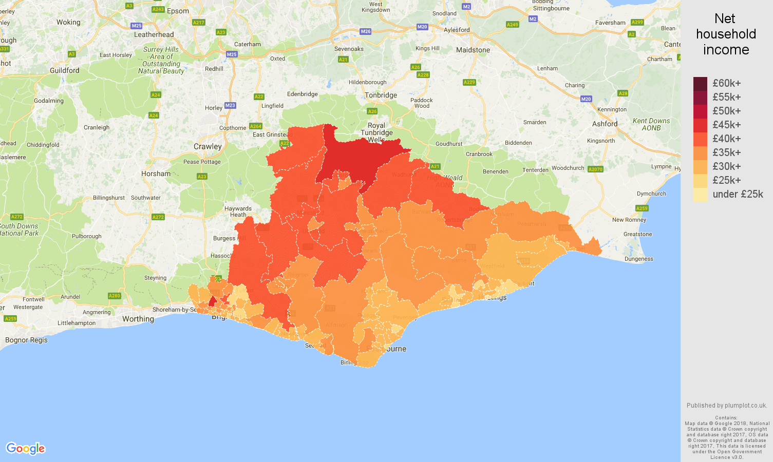 East Sussex Average Salary Household Income And Unemployment Rates