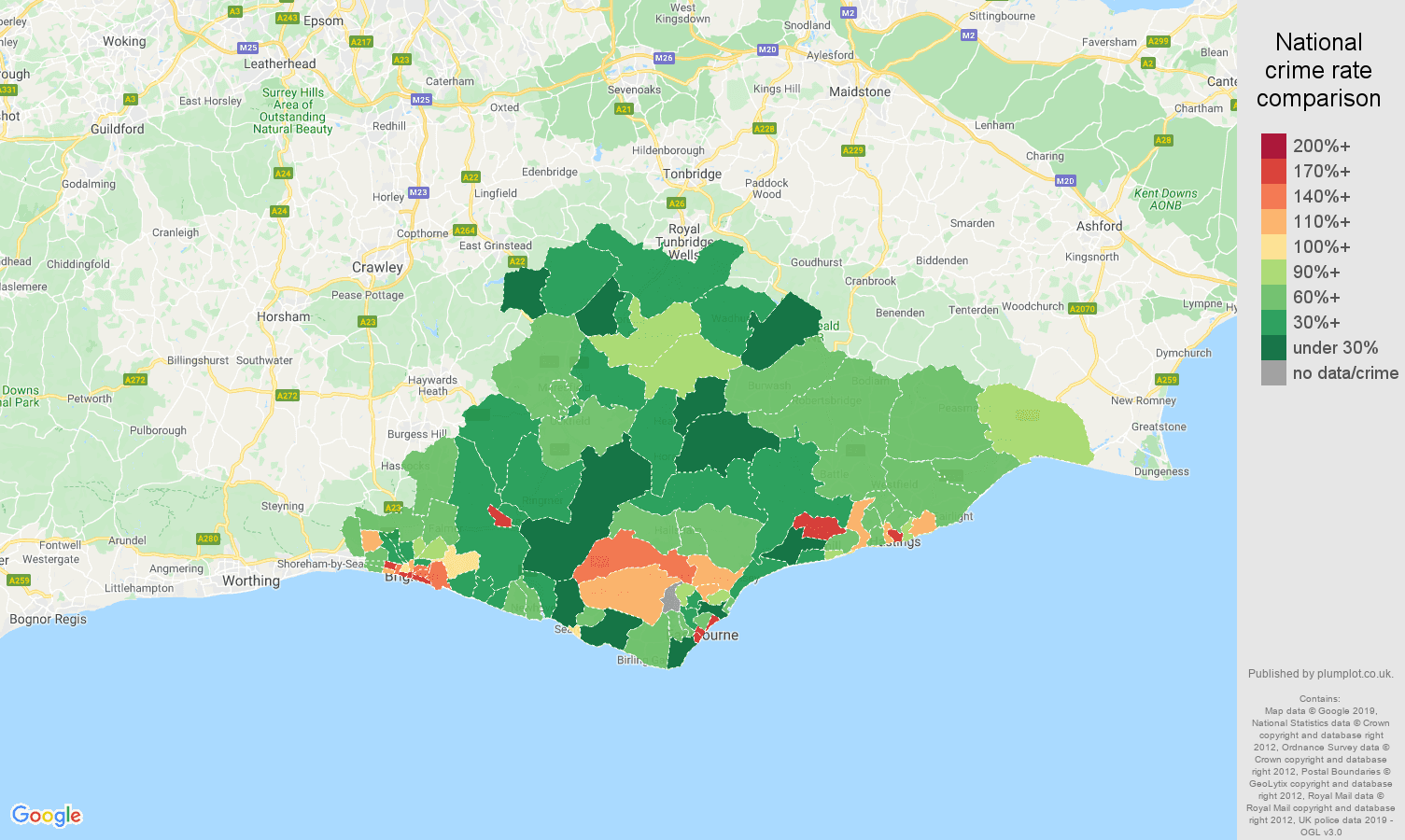 East Sussex other crime rate comparison map