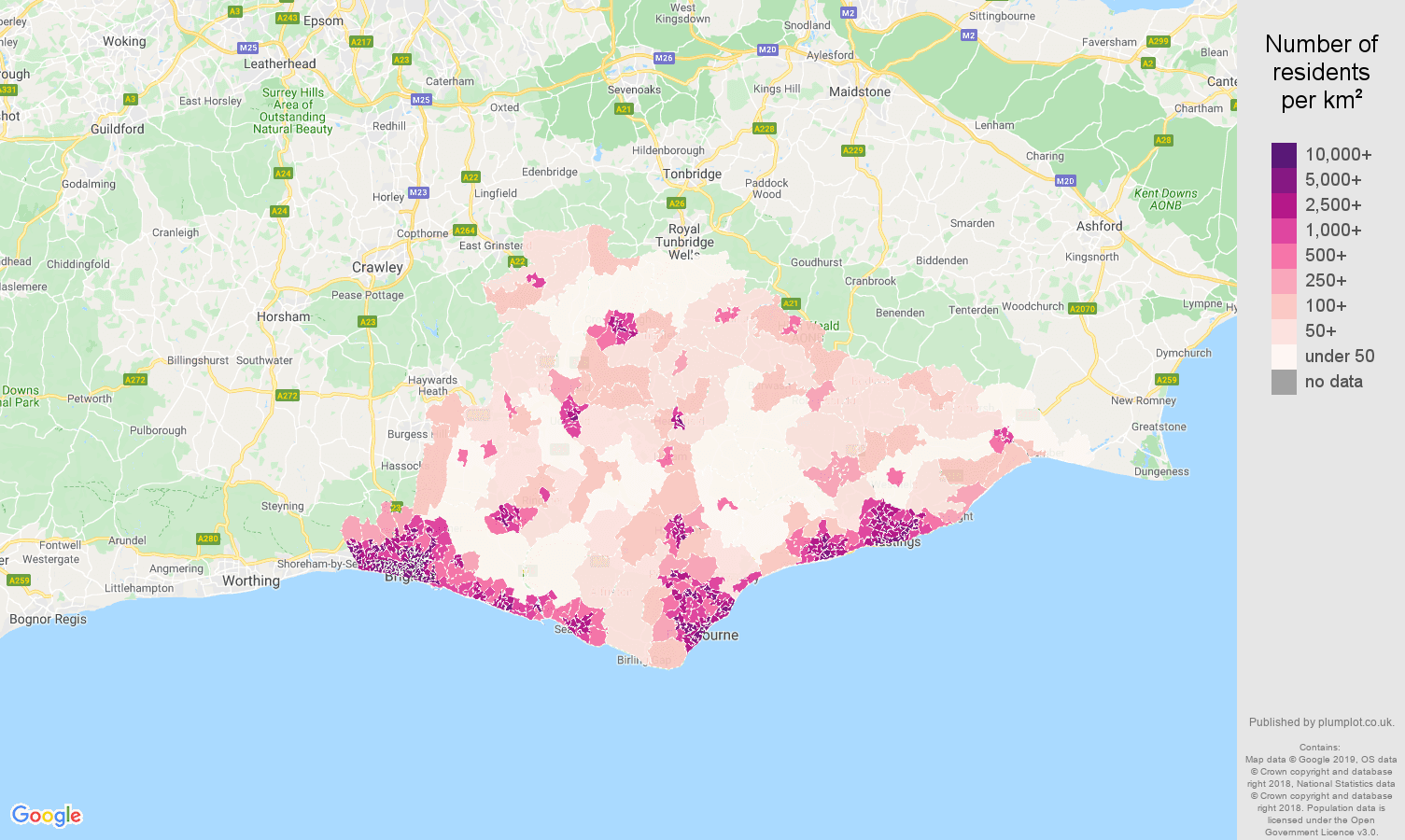 East Sussex Population Stats In Maps And Graphs