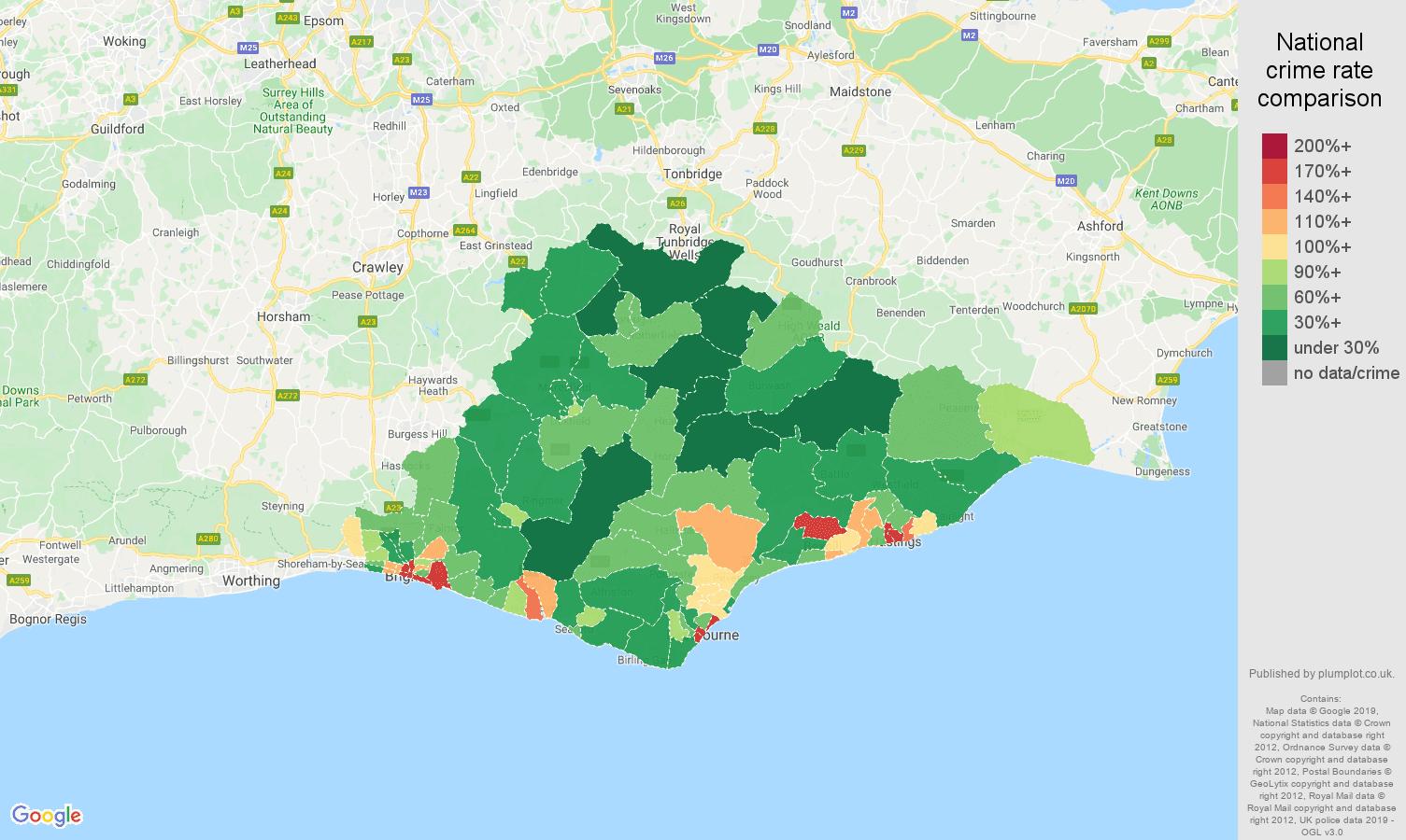 East Sussex public order crime rate comparison map