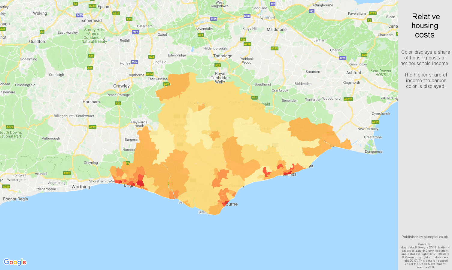 East Sussex relative housing costs map