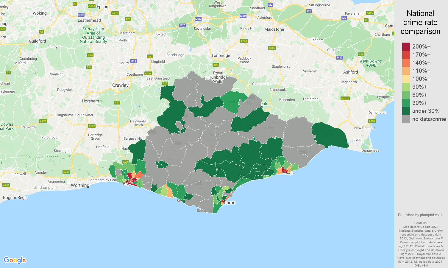East Sussex robbery crime rate comparison map