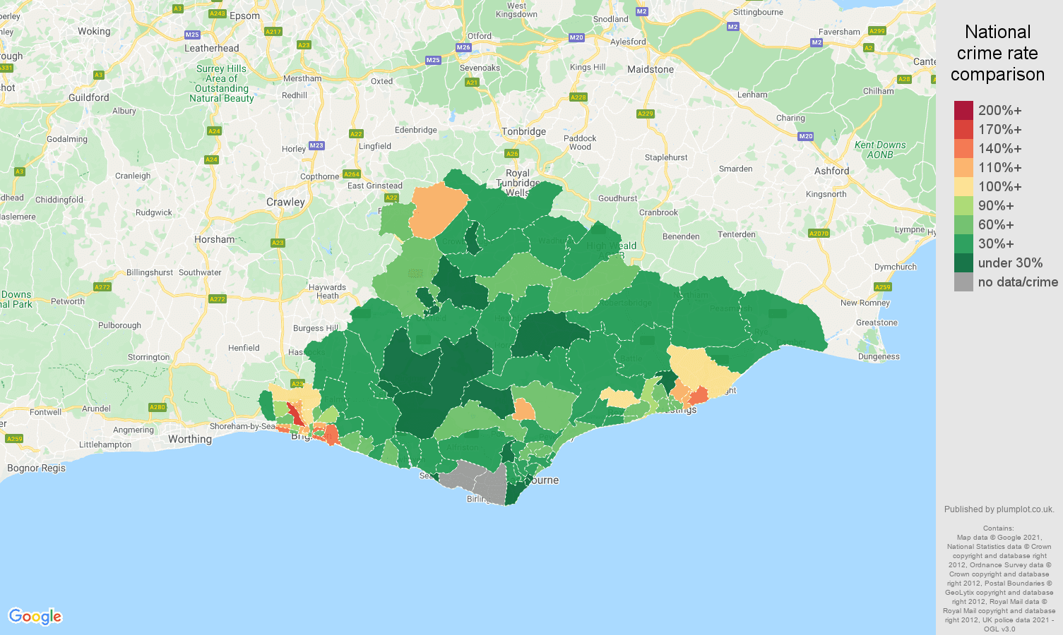 East Sussex vehicle crime rate comparison map