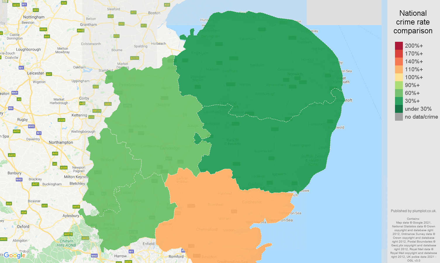 East of England antisocial behaviour crime rate comparison map