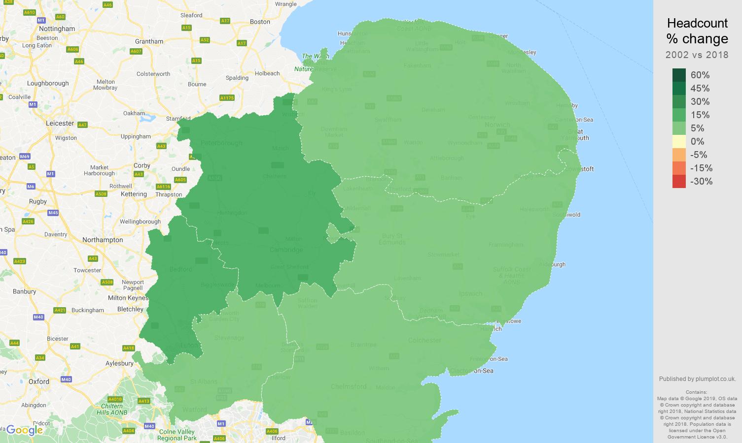East of England headcount change map