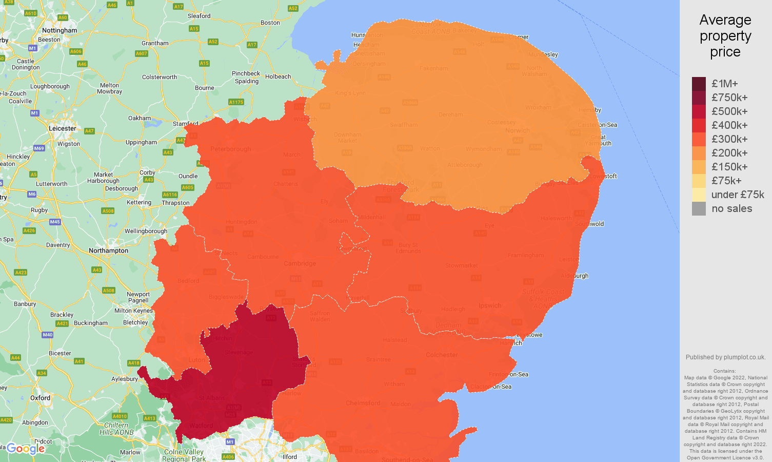 East Of England House Prices In Maps And Graphs