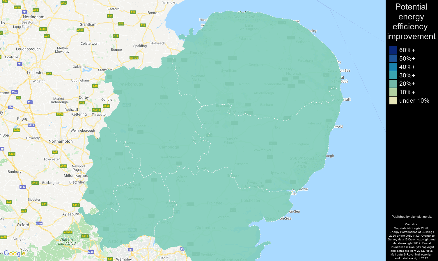 East of England map of potential energy efficiency improvement of houses