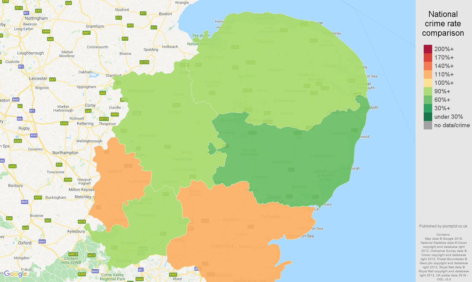 East of England possession of weapons crime rate comparison map