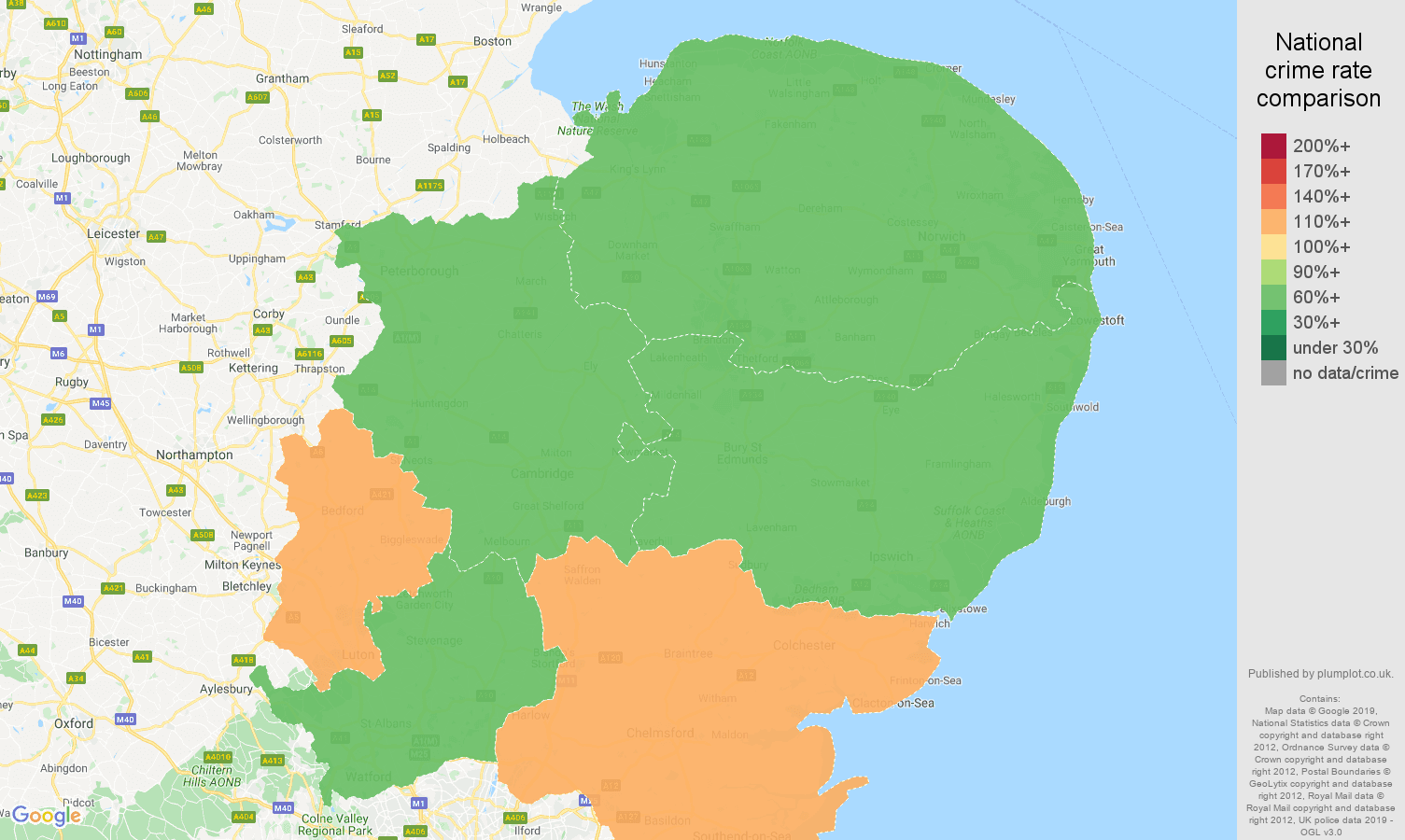 East of England public order crime rate comparison map