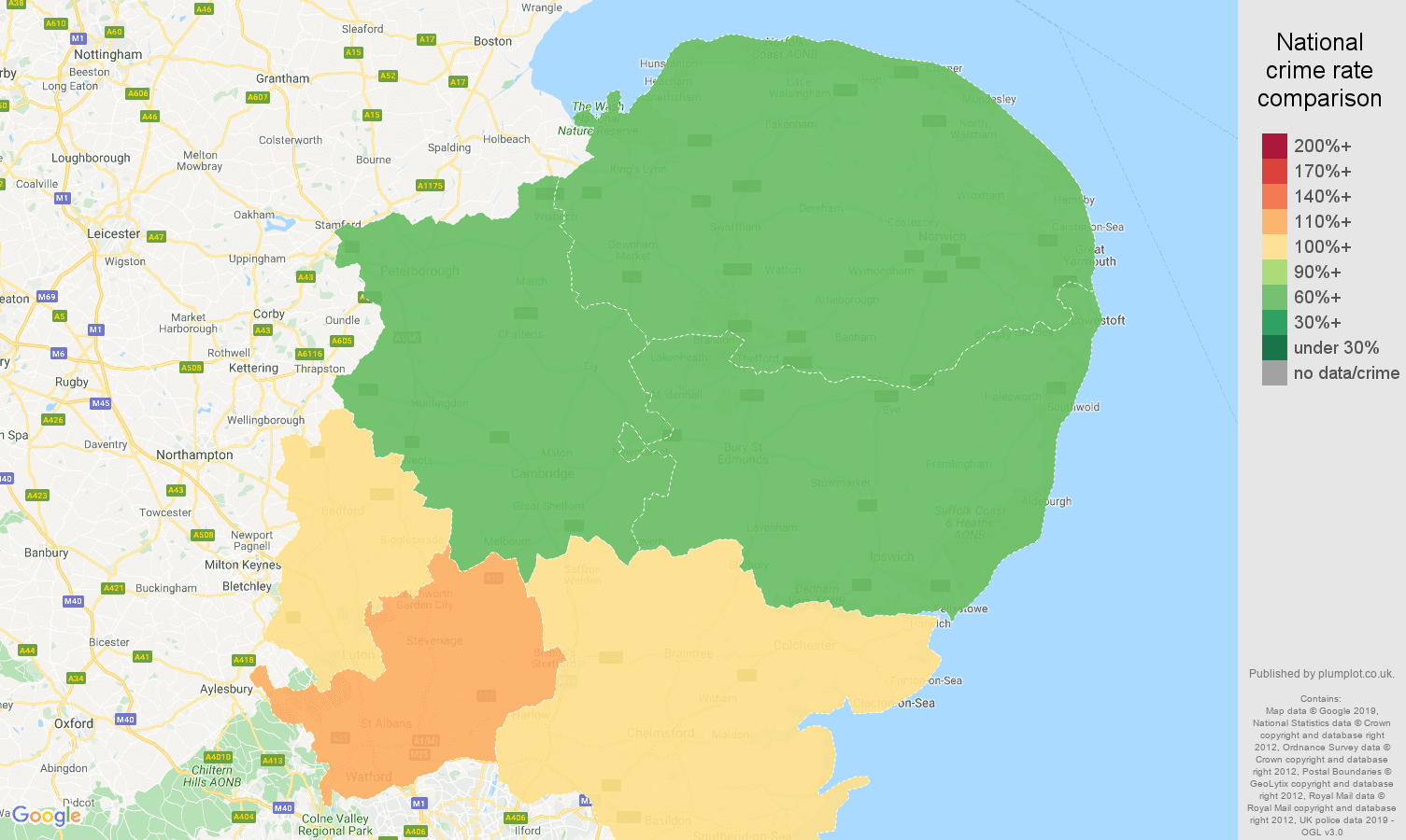 East of England shoplifting crime rate comparison map