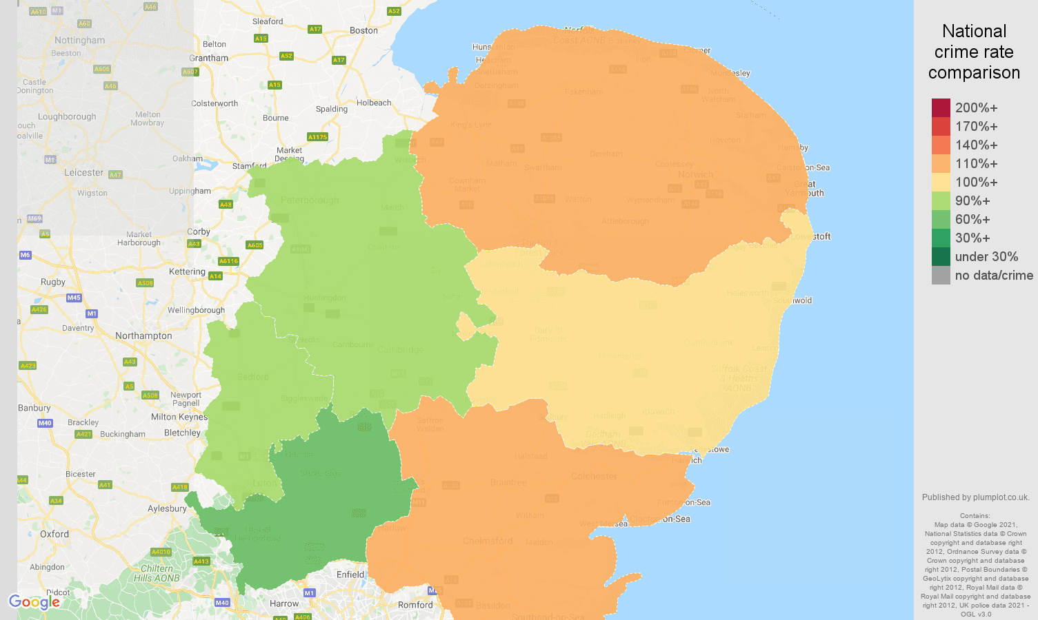 East of England violent crime rate comparison map