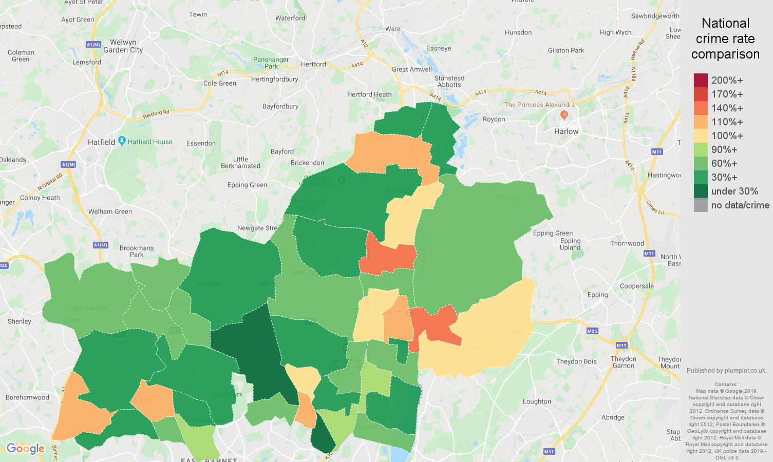Enfield public order crime rate comparison map