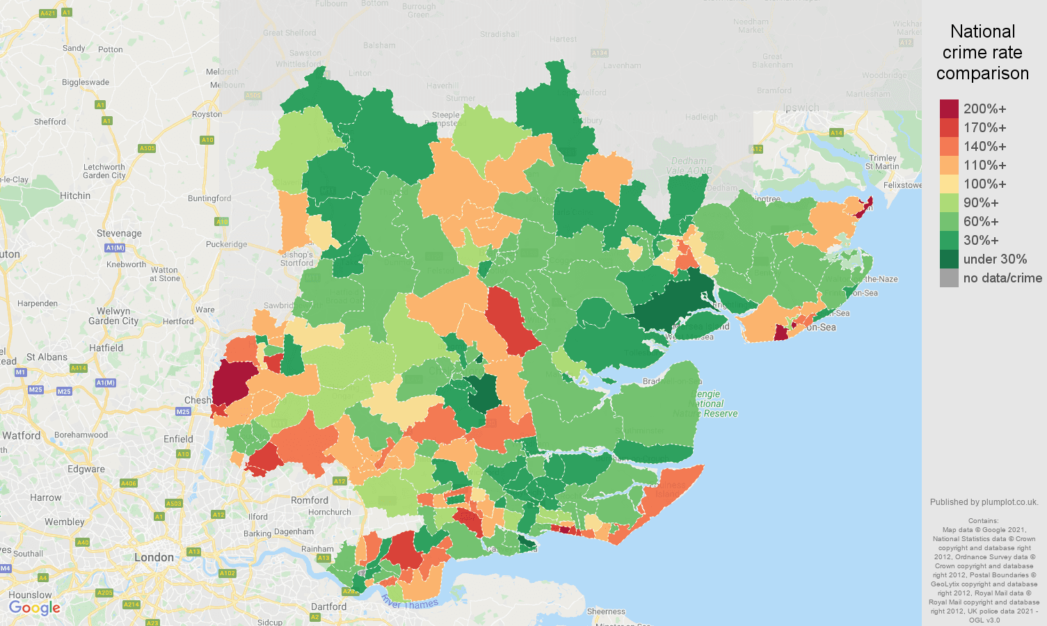 Essex burglary crime rate comparison map
