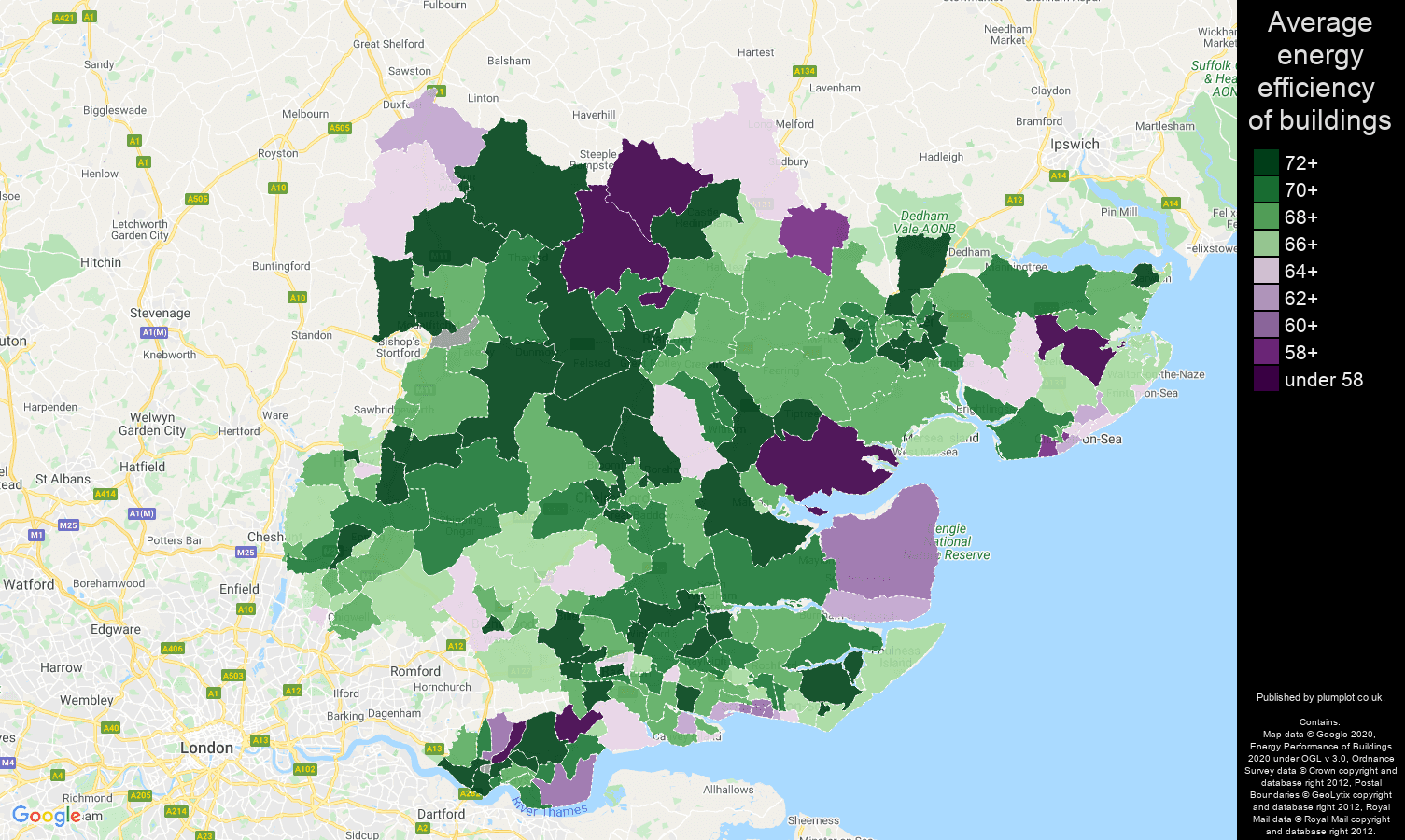 Essex map of energy efficiency of flats